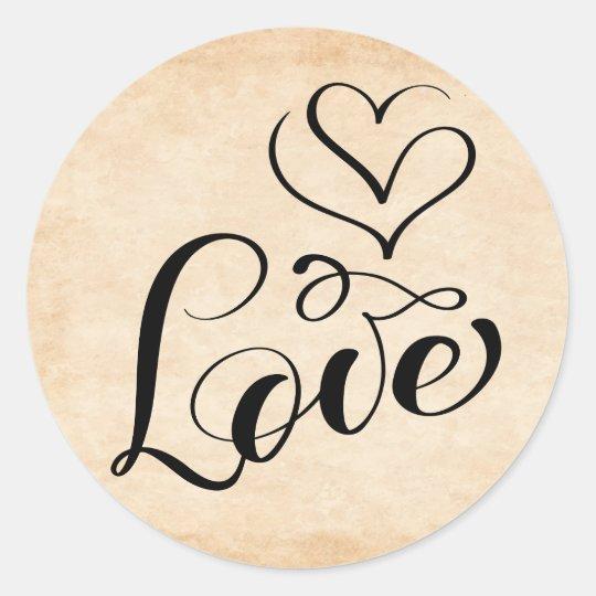 Vintage Love Heart Brown Distressed Grunge Wedding Classic Round Sticker