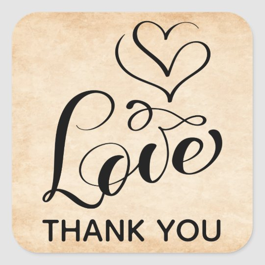 Vintage Love Heart Brown Wedding Grunge Thank You Square Sticker