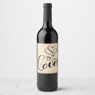 Vintage Love Hearts Brown Grunge Wedding Wine Label