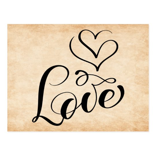 Vintage Love Hearts Brown Wedding Grunge Bridal Postcard