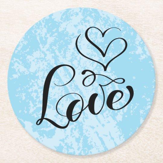 Vintage Love Hearts Distressed Blue Wedding Grunge Round Paper Coaster