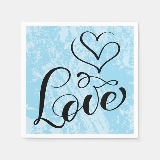 Vintage Love Hearts Distressed Blue Wedding Party Paper Napkin