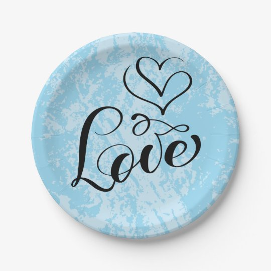 Vintage Love Hearts Distressed Blue Wedding Party Paper Plate