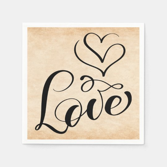 Vintage Love Hearts Distressed Brown Wedding Party Paper Napkin