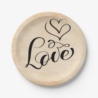 Vintage Love Hearts Distressed Brown Wedding Party Paper Plate