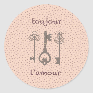 Vintage Love Hearts & French Keys Classic Round Sticker