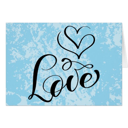 Vintage Love Hearts Sky Blue Grunge Typography Card