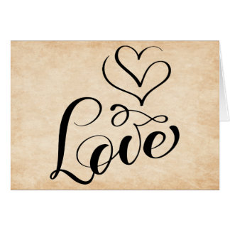 Vintage Love Hearts Sky Brown Grunge Typography Card