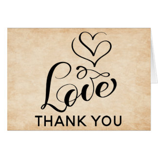 Vintage Love Hearts Thank You Brown Grunge Card