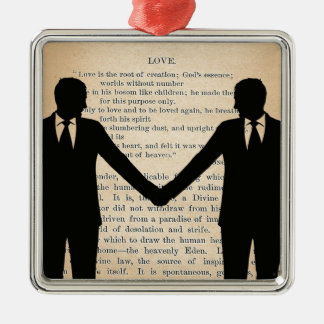 Vintage Love & Marriage Gay Wedding Longfellow Silver-Colored Square Ornament