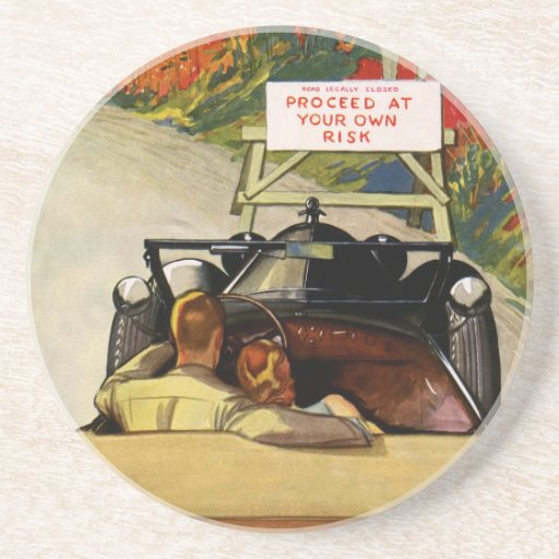 Vintage Love, Road Closed Proceed at Your Own Risk Drink Coaster