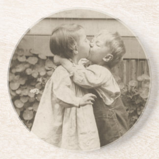 Vintage Love Romance, Children Kissing, First Kiss Drink Coasters
