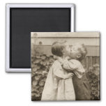 Vintage Love Romance, Children Kissing, First Kiss Refrigerator Magnet