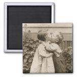 Vintage Love Romance, Children Kissing, First Kiss Refrigerator Magnet