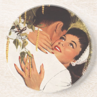 Vintage Love Romance, Couple in a Loving Embrace Coasters