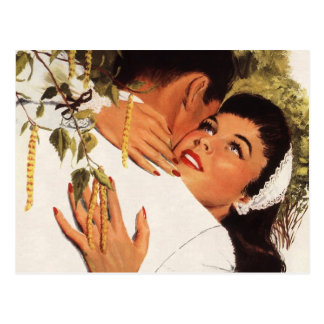 Vintage Love Romance, Couple in a Loving Embrace Postcard