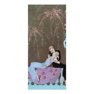 Vintage Love Romance, Fireworks Romantic Kiss Full Color Rack Card