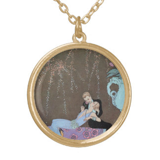 Vintage Love Romance, Fireworks Romantic Kiss Gold Plated Necklace