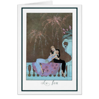 Vintage Love Romance, Fireworks Romantic Kiss Greeting Card