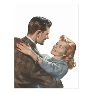 Vintage Love Romance Newlyweds Shall We Dance? Postcard
