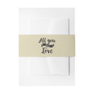 Vintage Love Tan And Black Wedding Belly Band Invitation Belly Band