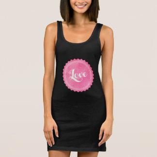 Vintage love typography sleeveless dress