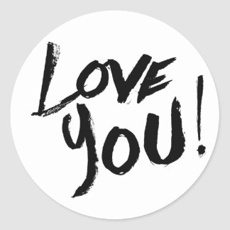 Vintage Love You Black And White Painted Round Sticker