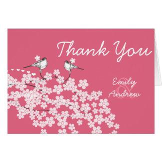 Vintage Lovebird Cherry Blossom Wedding Thank You Card