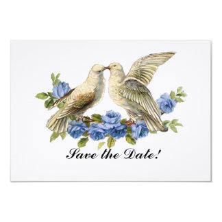 Vintage Lovebirds Blue Roses Save the Date Card