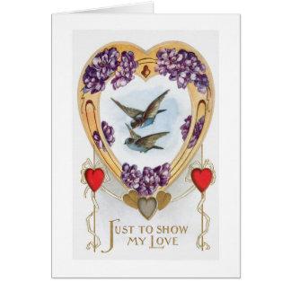 Vintage Lovebirds Bluebirds Valentine's Day Card