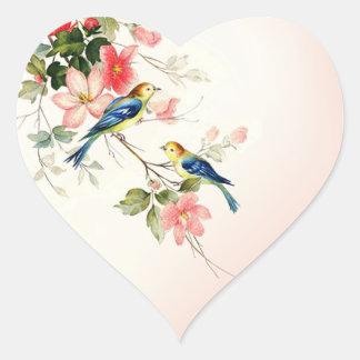 vintage lovebirds   blush pink white heart sticker