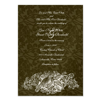 Vintage Lovebirds Brown Brocade Wedding Invitation