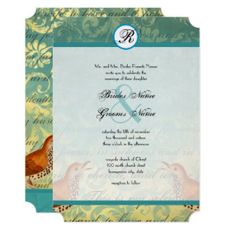 Vintage Lovebirds Lagoon Endive Wedding Invitation