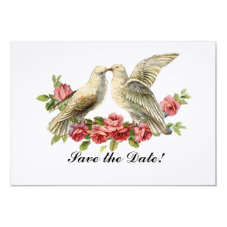 """Vintage Lovebirds Pink Roses Save the Date 3.5"""" X 5"""" Invitation Card"""