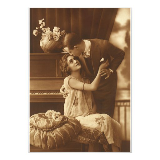 Vintage Lovers,  Love Romance Romantic Music Personalized Invitations