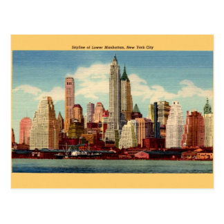 Vintage Lower Manhattan Skyline Post Card