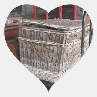 Vintage luggage and wicker basket - Range Heart Sticker