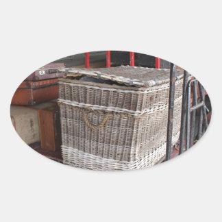 Vintage luggage and wicker basket - Range Oval Sticker