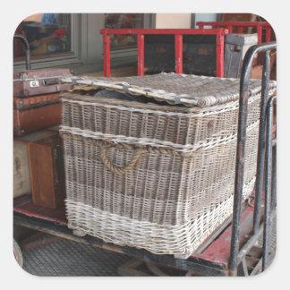 Vintage luggage and wicker basket - Range Square Sticker