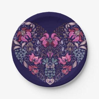 Vintage luxury design. Heart stylish pattern Paper Plate