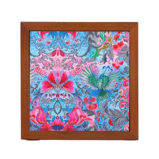Vintage luxury floral garden blue bird lux pattern desk organizer