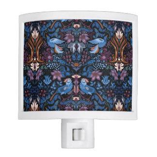Vintage luxury floral garden blue bird lux pattern nite light