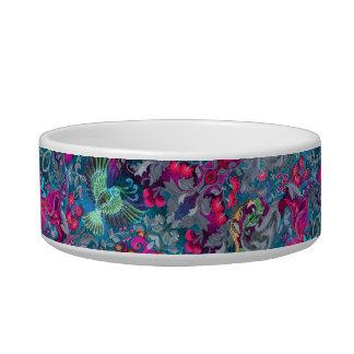Vintage luxury floral garden blue bird lux pattern pet bowls