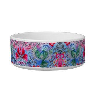 Vintage luxury floral garden blue bird lux pattern pet food bowl