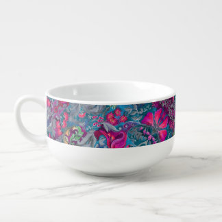 Vintage luxury floral garden blue bird lux pattern soup mug