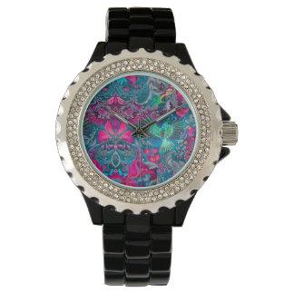 Vintage luxury floral garden blue bird lux pattern watch