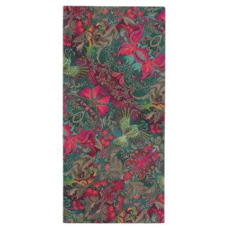 Vintage luxury floral garden blue bird lux pattern wood USB 2.0 flash drive