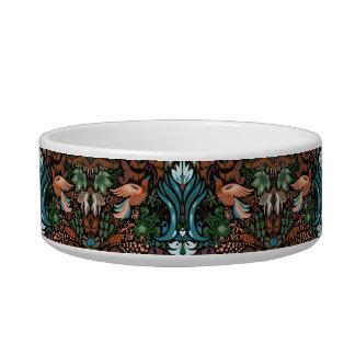 Vintage luxury floral garden gold bird lux pattern cat food bowl