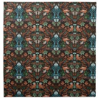 Vintage luxury floral garden gold bird lux pattern napkin
