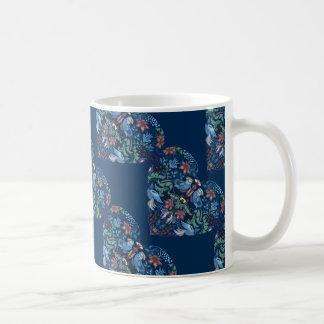 Vintage luxury Heart with blue birds happy pattern Coffee Mug